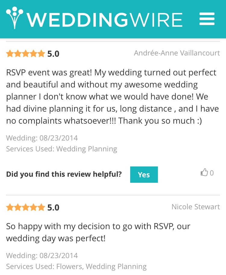 Ottawa wedding planner reviews