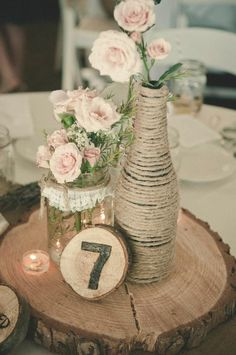 Burlap wedding centrepieces ideas