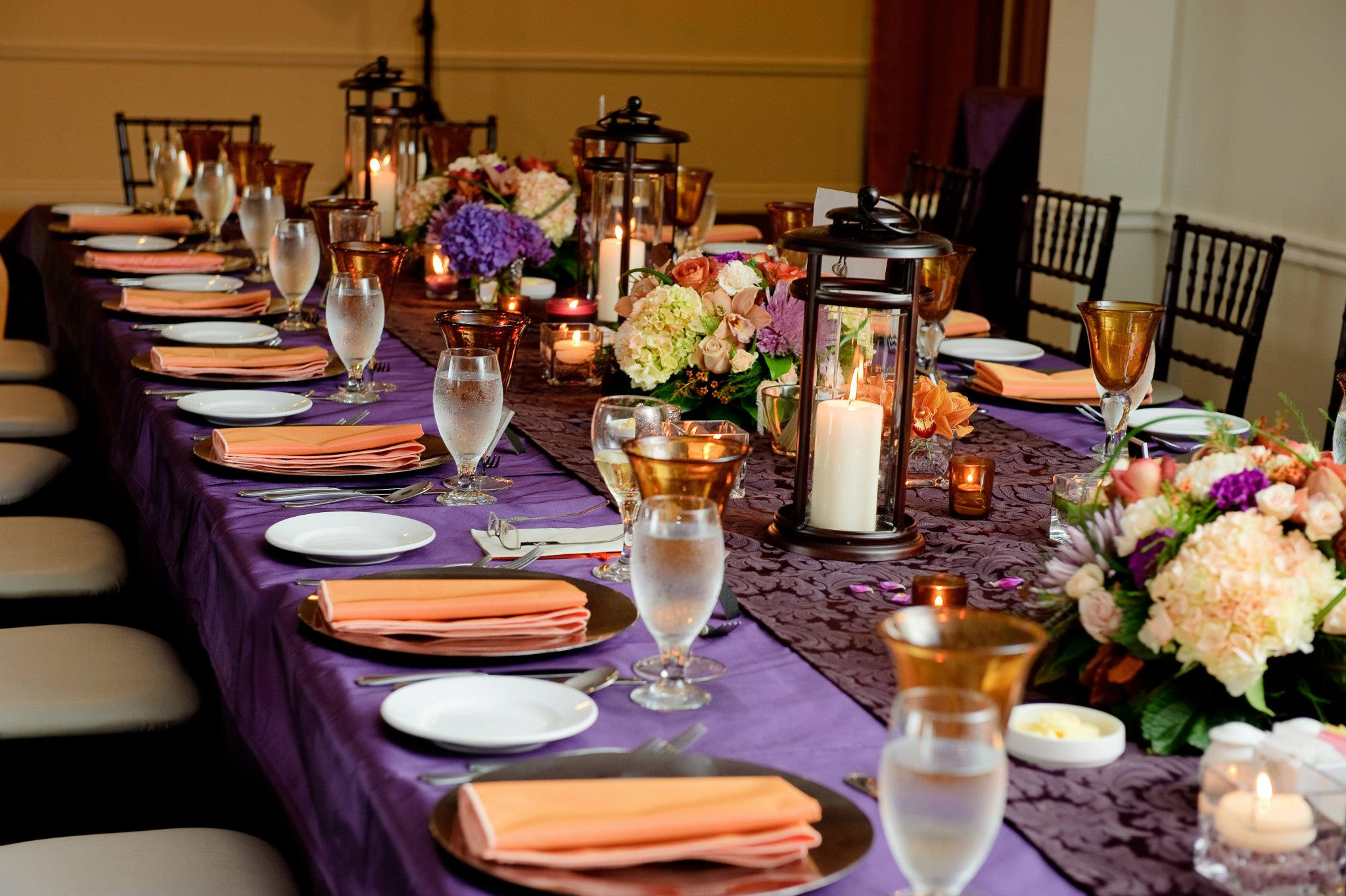 Wedding Table Purple And Orange Wedding Table Decorations rsvp wedding blog a place to get tips ideas and muskoka locations