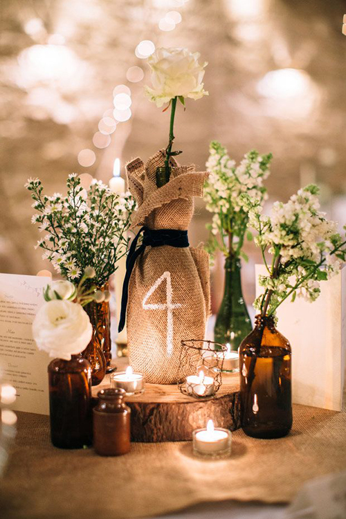 Burlap table numbers ideas elegant