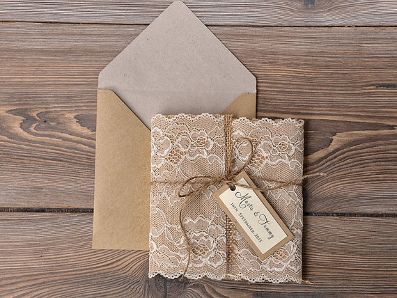 Wedding invitations burlap